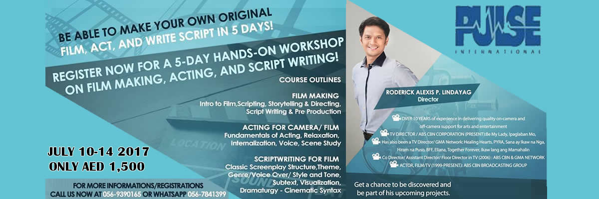 Filmact Workshop Tickets Pulse International Businessmen Services