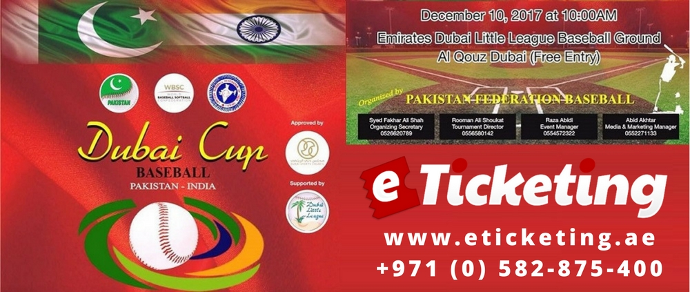 Baseball Dubai Cup Tickets Pakistan Baseball Federation