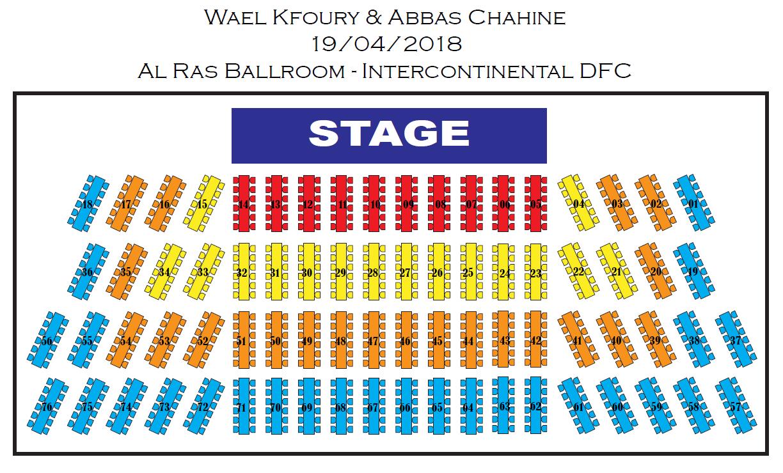 Al Ras Ballroom, InterContinental, Dubai Festival City seating plan